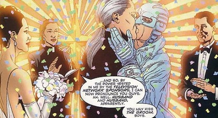 O casamento de Apollo e Midnighter, em Authority #29