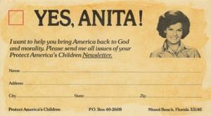 """""""SIM, ANITA! Eu quero ajudar você a trazer de volta aos Estados Unidos a moralidade e Deus."""" Cartão-reposta distribuído pelo território americano para angariar fundos e recrutar apoio"""